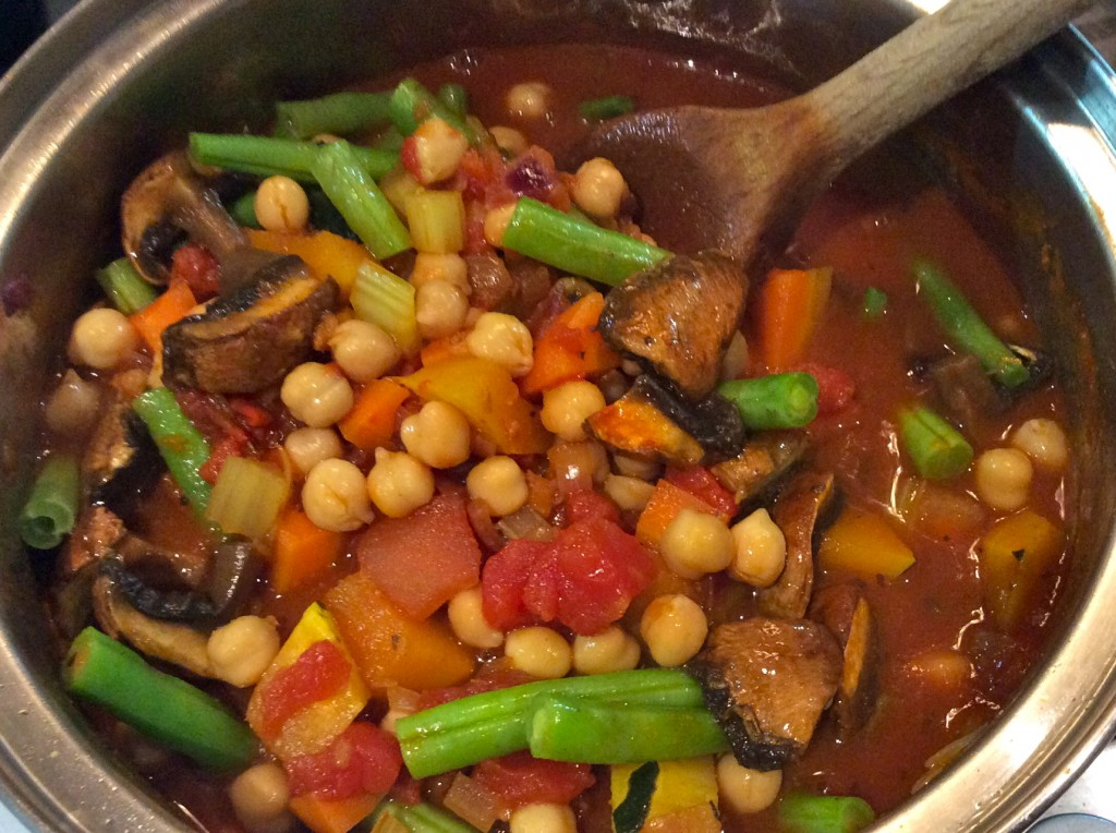 Warming Friday night veg and chickpea stew