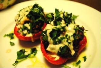 Lebanese lentil-stuffed peppers