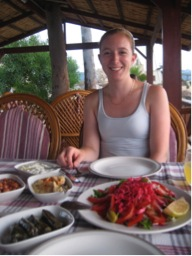 Enjoying lunch in Cyprus, 2010 - so young!