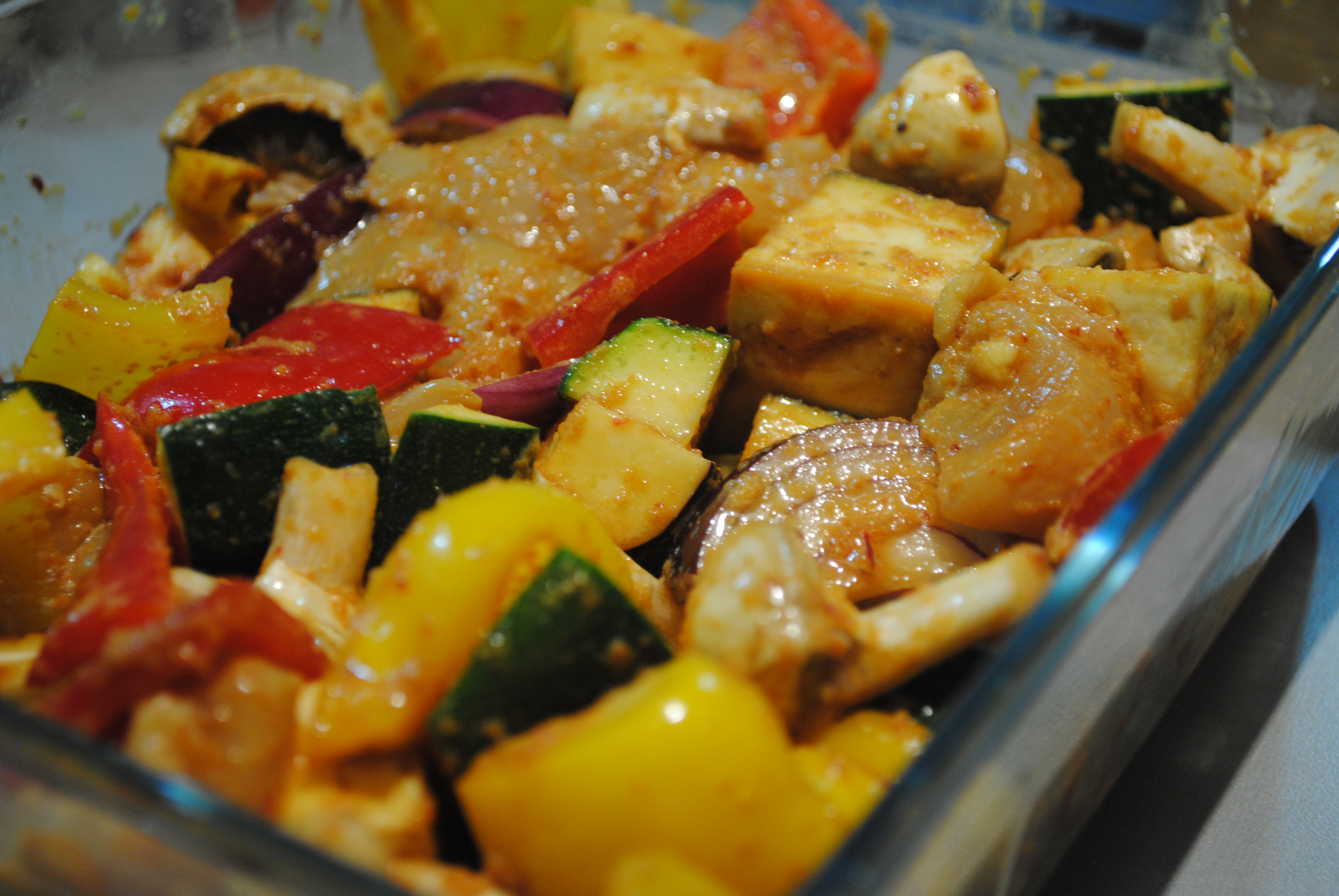 Vegetable chunks and chicken in marinade